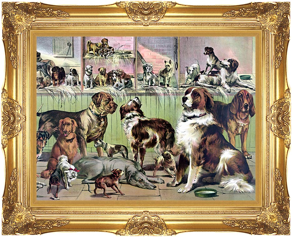 Currier and Ives House, Kennel and Field with Majestic Gold Frame