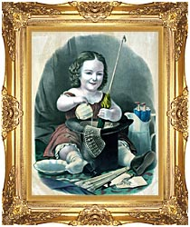 Currier And Ives Little Girl Into Mischief canvas with Majestic Gold frame