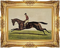 Currier And Ives Iroquois Thoroughbred Horse canvas with Majestic Gold frame