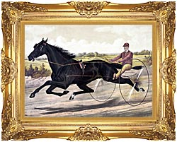 Currier And Ives Jay Eye See Trotter Horse Racing canvas with Majestic Gold frame