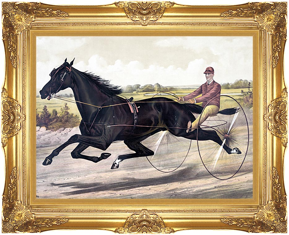 Currier and Ives Jay Eye See Trotter Horse Racing with Majestic Gold Frame