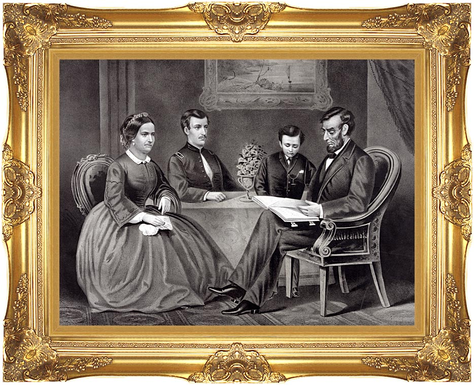 Currier and Ives President Abraham Lincoln at Home with Majestic Gold Frame