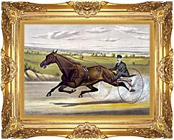 Currier And Ives Maud S Trotter Race Horse canvas with Majestic Gold frame