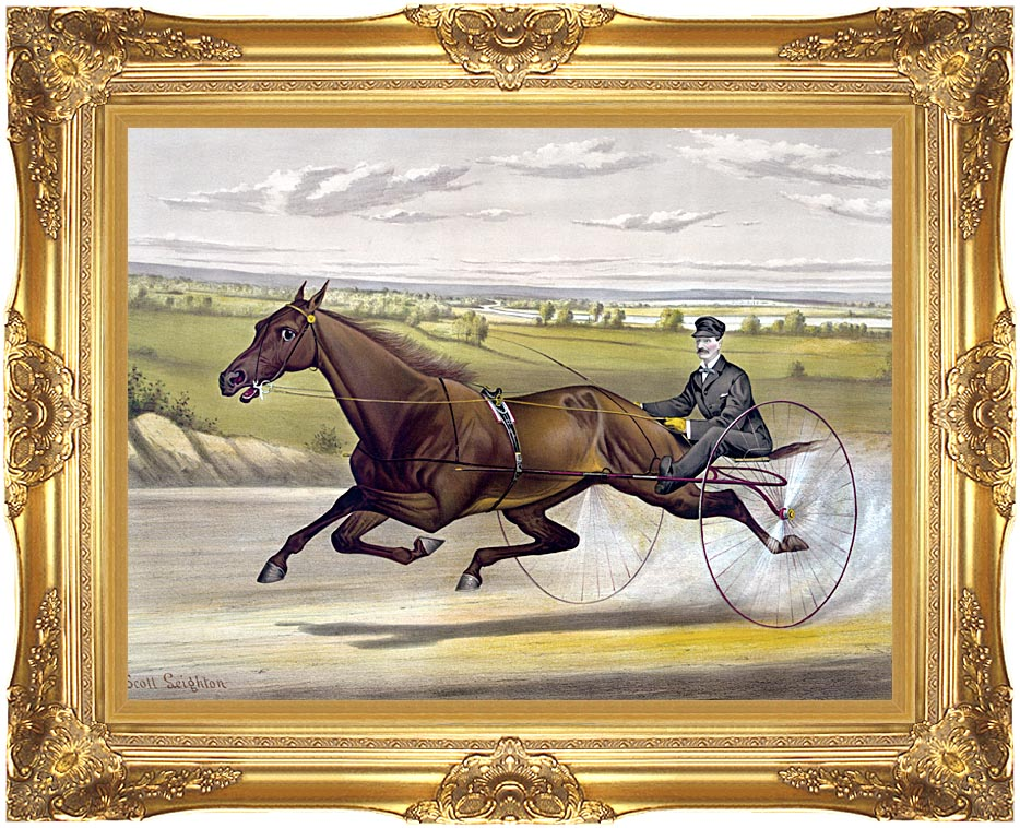 Currier and Ives Maud S Trotter Race Horse with Majestic Gold Frame