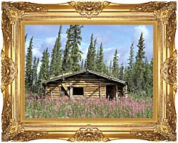 U S Fish And Wildlife Service Canyon Village Log Cabin canvas with Majestic Gold frame