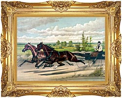 Currier And Ives Mill Boy And Blondine Harness Racers canvas with Majestic Gold frame