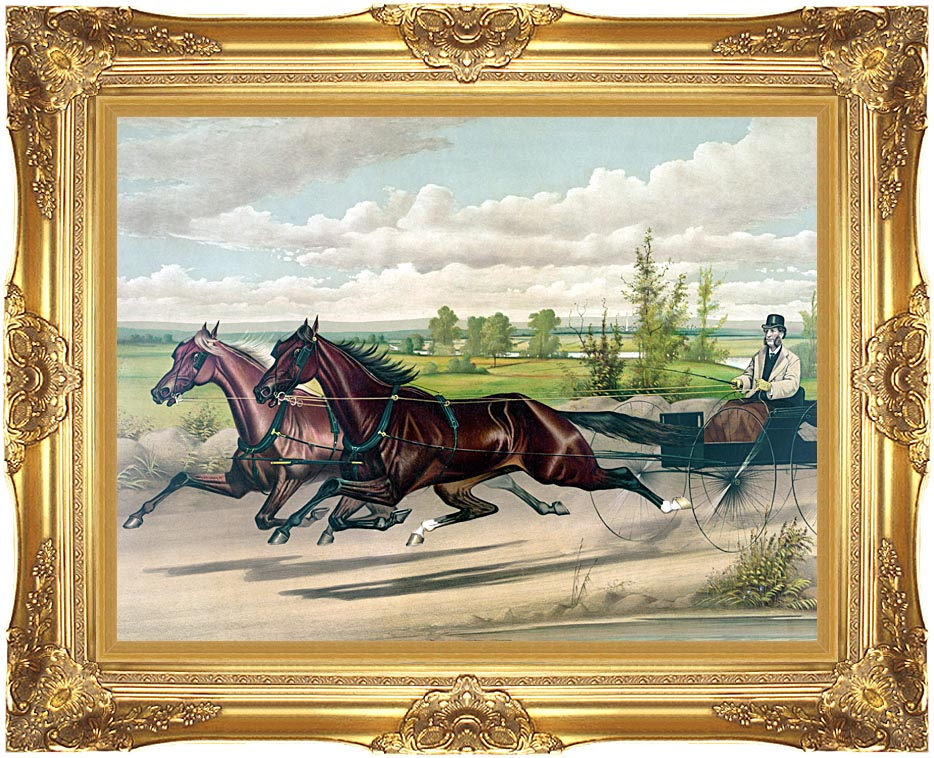 Currier and Ives Mill Boy and Blondine Harness Racers with Majestic Gold Frame