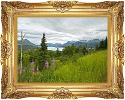U S Fish And Wildlife Service Hillside With Fireweed canvas with Majestic Gold frame