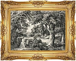 Currier And Ives My Cottage Home canvas with Majestic Gold frame