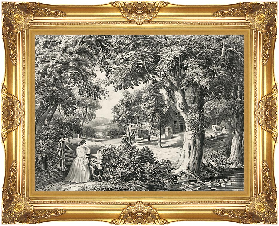 Currier and Ives My Cottage Home with Majestic Gold Frame