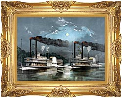 Currier And Ives A Midnight Race On The Mississippi River canvas with Majestic Gold frame