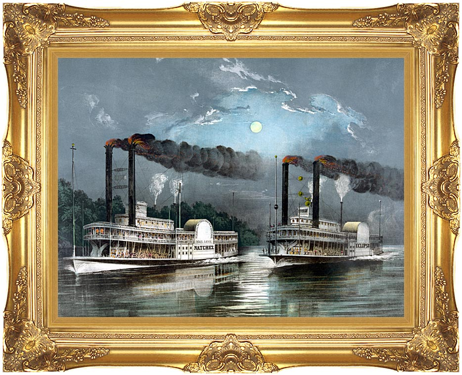 Currier and Ives A Midnight Race on the Mississippi River with Majestic Gold Frame