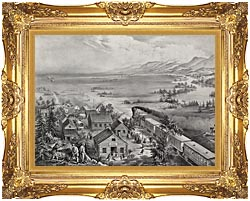 Currier And Ives Railroad Across The Continent canvas with Majestic Gold frame