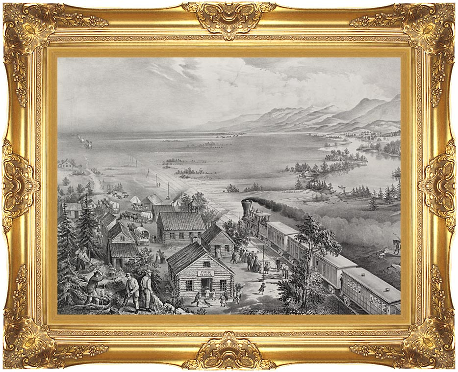 Currier and Ives Railroad Across the Continent with Majestic Gold Frame