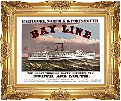 Currier And Ives Bay Line Steamship canvas with Majestic Gold frame
