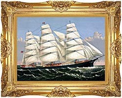 Currier And Ives Clipper Ship Three Brothers canvas with Majestic Gold frame
