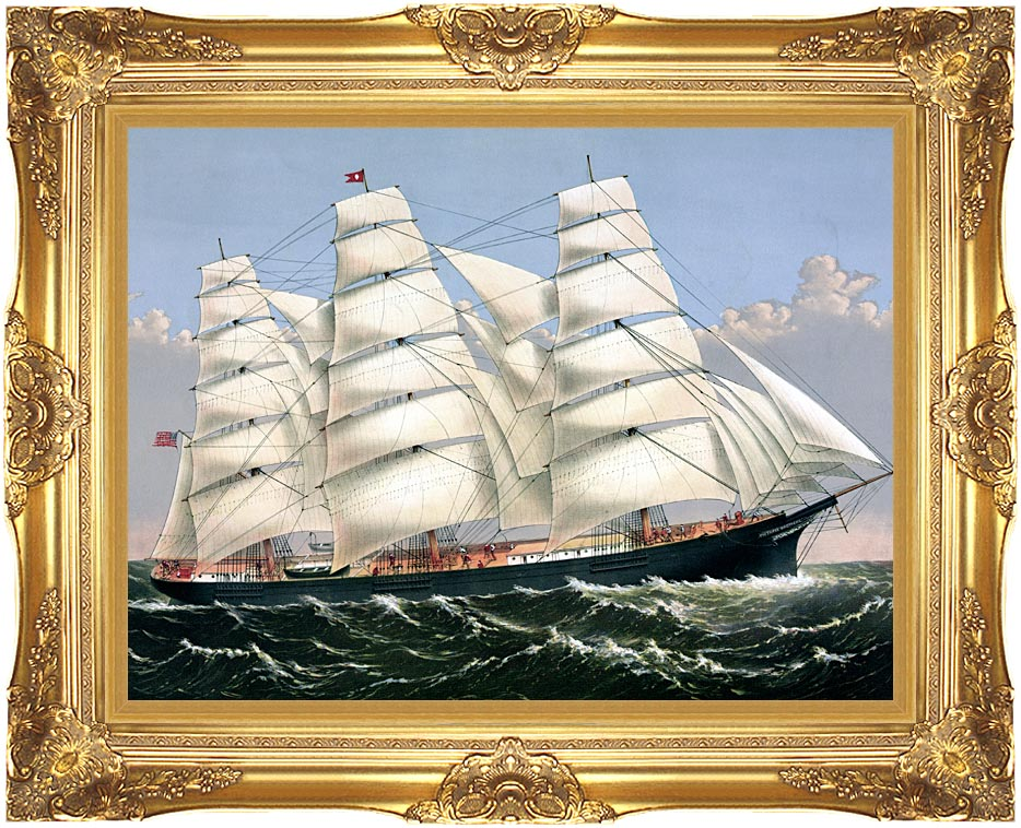 Currier and Ives Clipper Ship Three Brothers with Majestic Gold Frame