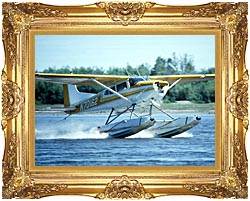 U S Fish And Wildlife Service Float Plane In Water canvas with Majestic Gold frame