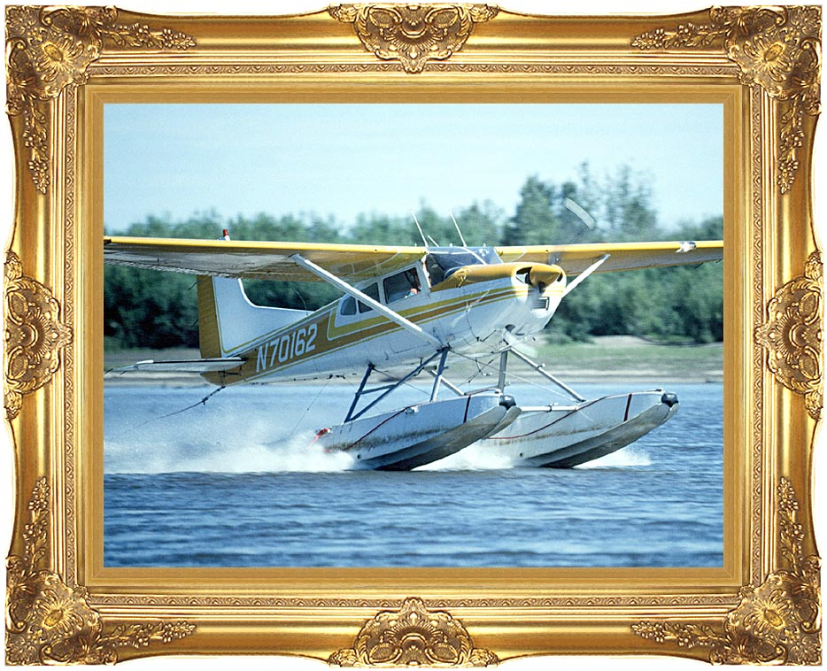 U S Fish and Wildlife Service Float Plane in Water with Majestic Gold Frame
