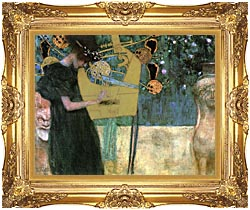 Gustav Klimt Music I canvas with Majestic Gold frame