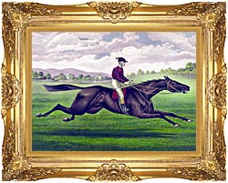Currier And Ives Parole Horse Racing canvas with Majestic Gold frame