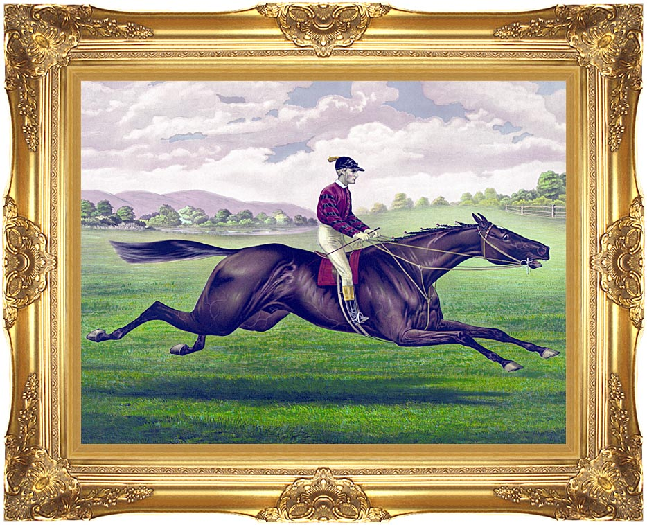 Currier and Ives Parole Horse Racing with Majestic Gold Frame