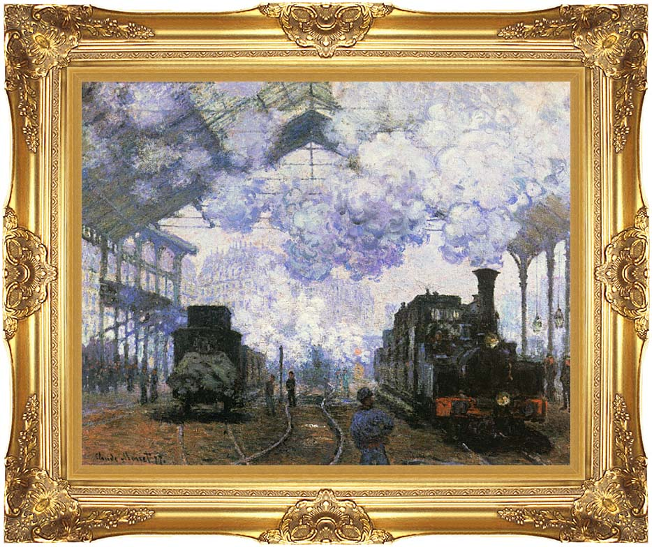 Claude Monet Gare Saint Lazare, Arrival of a Train with Majestic Gold Frame
