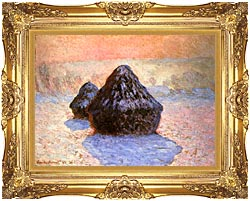 Claude Monet Haystacks Snow Effect Winter canvas with Majestic Gold frame
