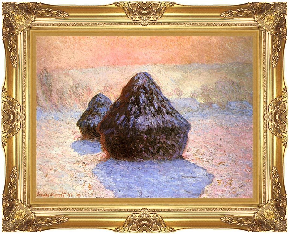 Claude Monet Haystacks, Snow Effect Winter with Majestic Gold Frame
