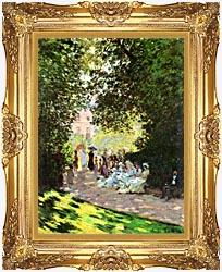 Claude Monet Parisians Enjoying The Parc Monceau Paris canvas with Majestic Gold frame