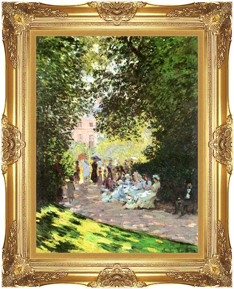 Claude Monet Parisians Enjoying the Parc Monceau, Paris with Majestic Gold Frame