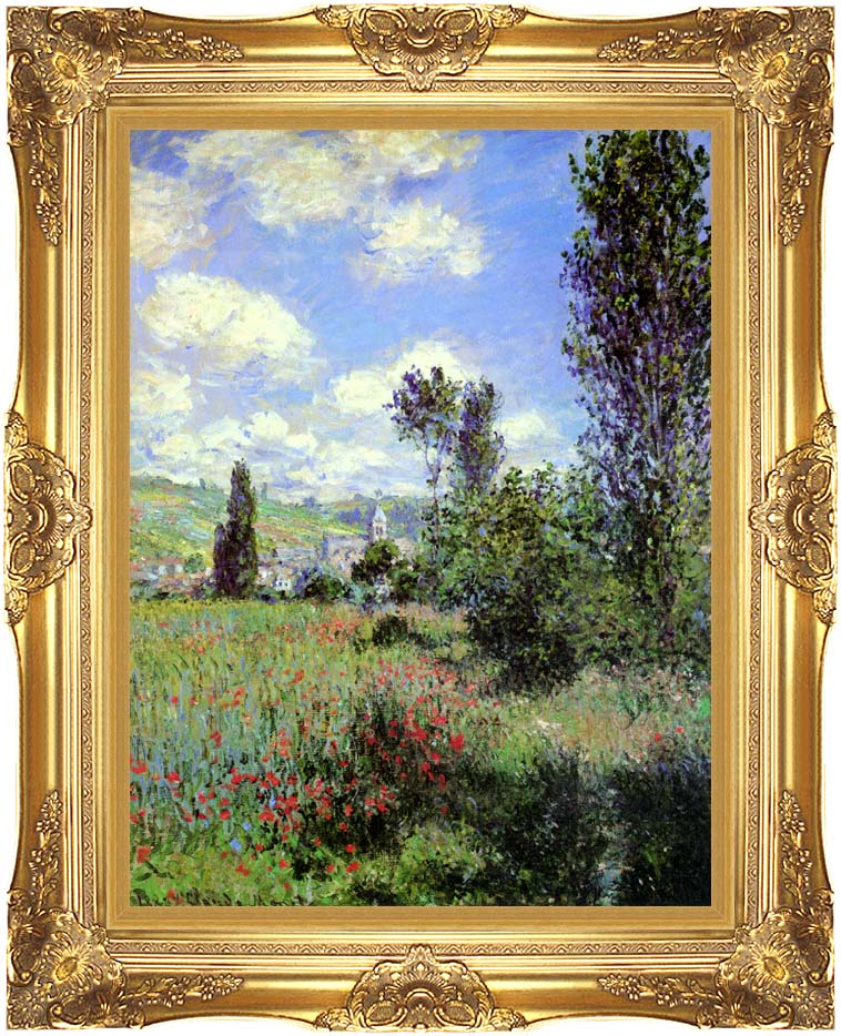 Claude Monet Path in the Ile Saint-Martin, Vetheuil with Majestic Gold Frame