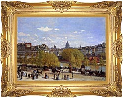 Claude Monet Quai Du Louvre Paris canvas with Majestic Gold frame