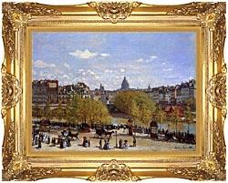 Claude Monet Quai Du Louvre Paris canvas with Majestic Gold frame