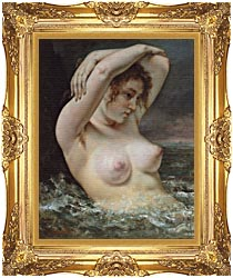 Gustave Courbet Woman In The Waves canvas with Majestic Gold frame