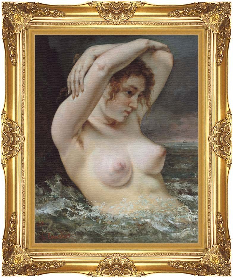 Gustave Courbet Woman In The Waves with Majestic Gold Frame