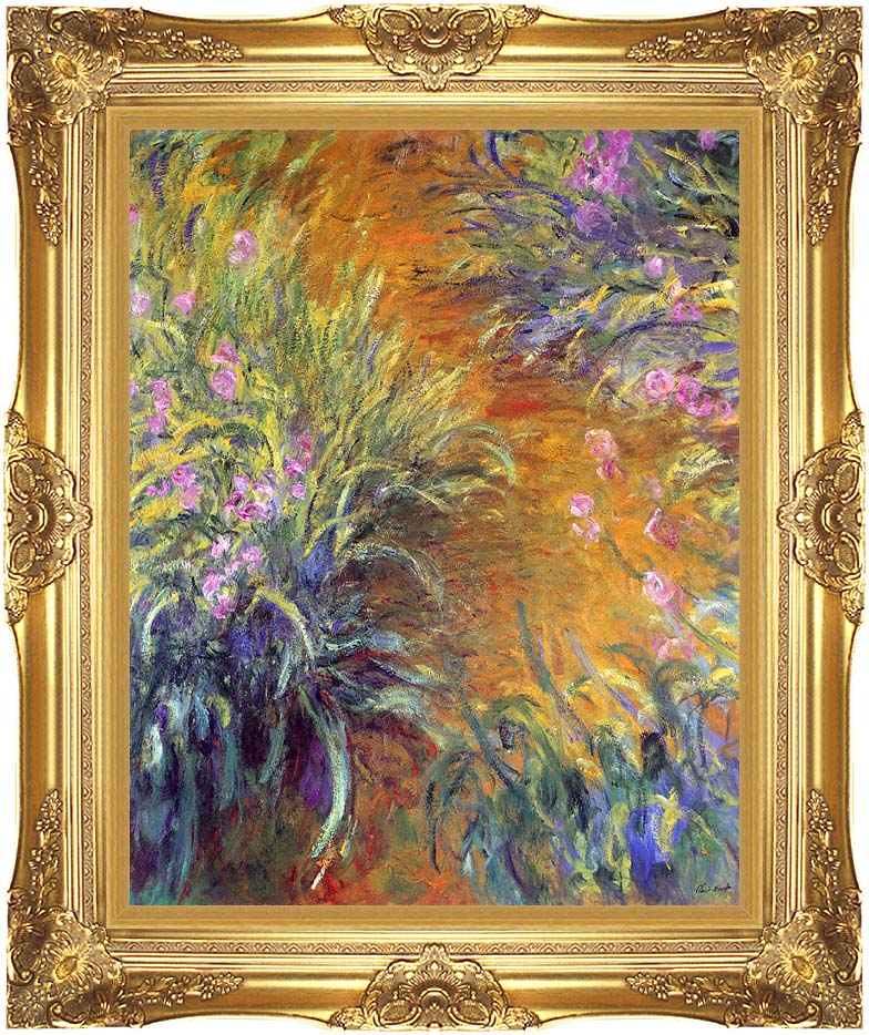 Claude Monet The Path Through the Irises with Majestic Gold Frame