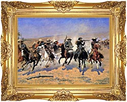 Frederic Remington A Dash For The Timber Detail canvas with Majestic Gold frame