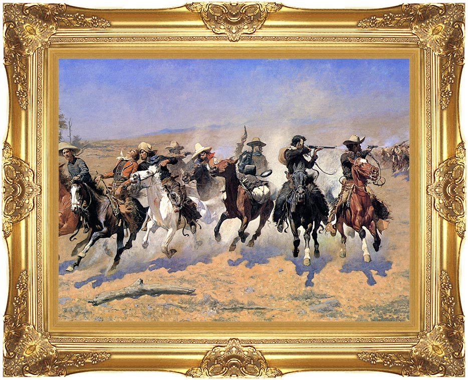 Frederic Remington A Dash For The Timber (detail) with Majestic Gold Frame