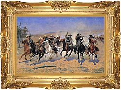 Frederic Remington A Dash For The Timber canvas with Majestic Gold frame