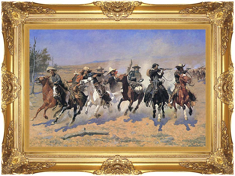 Frederic Remington A Dash For The Timber with Majestic Gold Frame