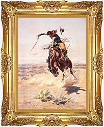 Charles Russell A Bad Hoss canvas with Majestic Gold frame