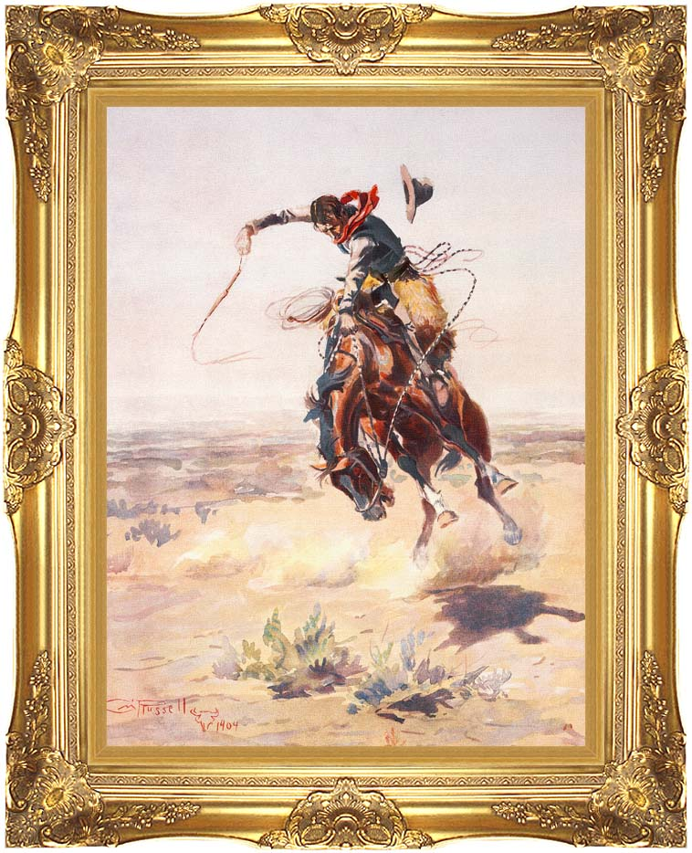 Charles Russell A Bad Hoss with Majestic Gold Frame