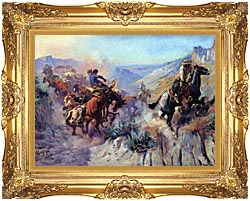 Charles Russell A Mix Up canvas with Majestic Gold frame