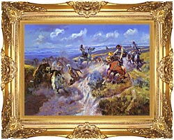 Charles Russell A Tight Dally And Loose Latigo canvas with Majestic Gold frame