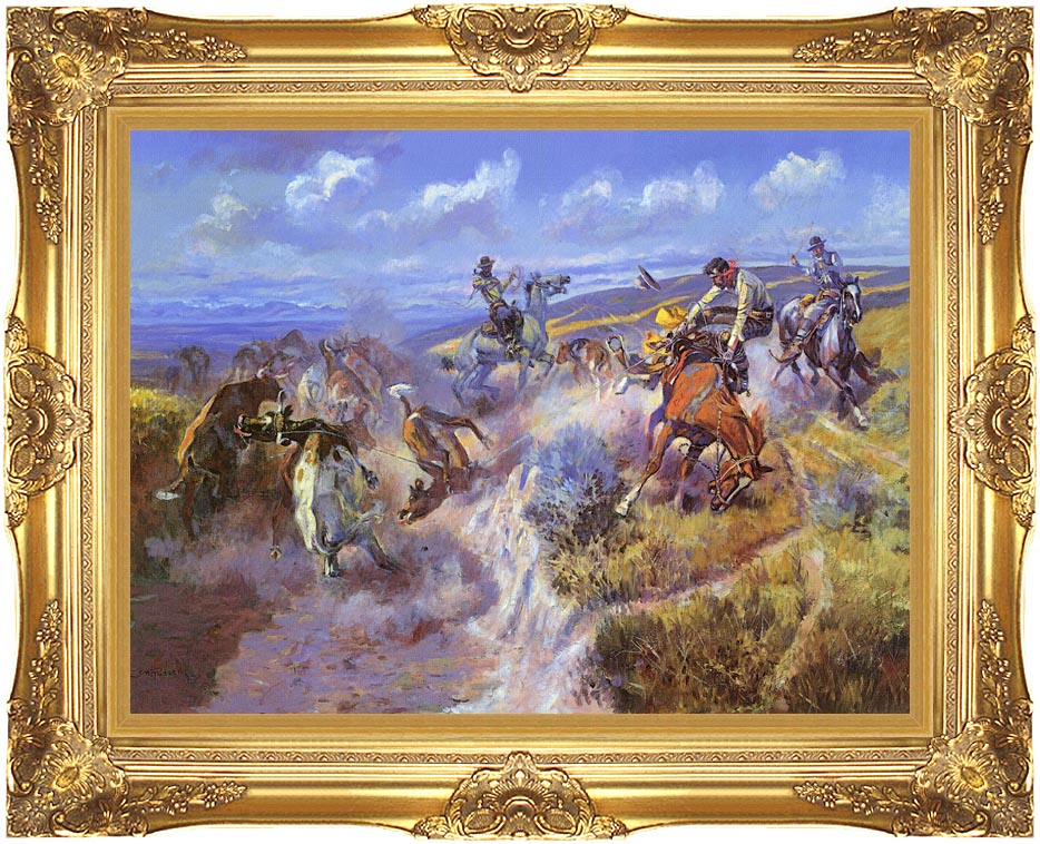 Charles Russell A Tight Dally and Loose Latigo with Majestic Gold Frame