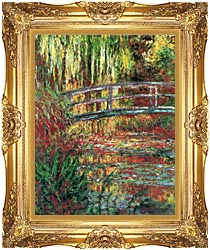 Claude Monet Water Garden And Japanese Footbridge canvas with Majestic Gold frame