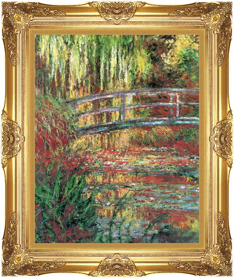 Claude Monet Water Garden and Japanese Footbridge with Majestic Gold Frame