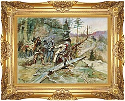 Charles Russell Big Nose George And The Road Agents canvas with Majestic Gold frame
