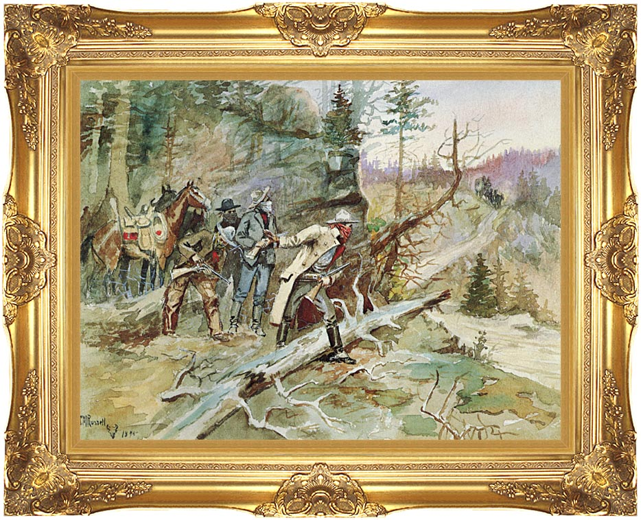 Charles Russell Big Nose George and the Road Agents with Majestic Gold Frame